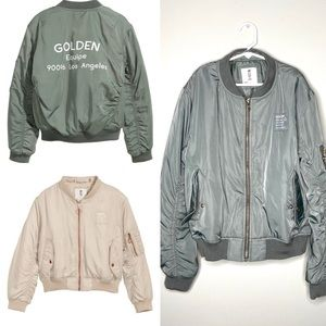 "H&M kids green ""golden equipe"" bomber jacket"